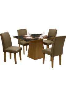 Mesa Para Sala De Jantar Com 4 Cadeiras Florença – Dôbue - Mel / Preto / Castor