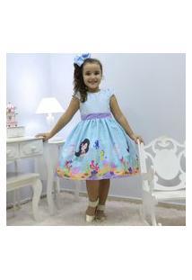 Vestido Festa Infantil Tema Sereia No Fundo Do Mar