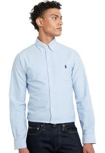 Camisa Ralph Lauren Masculina Custom Fit Oxford Azul Claro