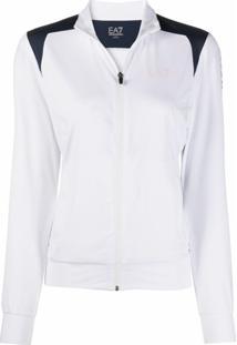 Ea7 Emporio Armani Jaqueta Esportiva Com Logo E Listras - Branco