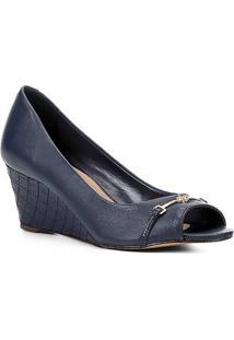 Peep Toe Couro Shoestock Anabela New Matelassê - Feminino-Marinho