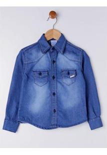 Camisa Jeans Infantil Petit Kid Masculina - Masculino-Azul