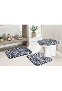 Jogo De Banheiro Guga Tapetes Safari Standard 3 Pecas Zebra