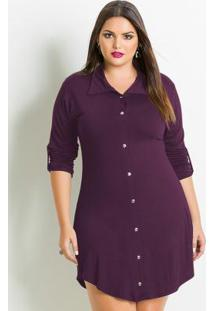 Vestido Chemisier Plus Size Bordô