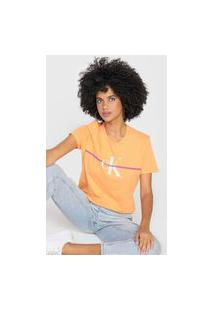 Camiseta Calvin Klein Jeans Re Issue Faixa Laranja