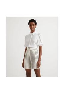 Camisa Em Viscolinho Com Manga Curta Bufante Sem Estampa | Cortelle | Branco | Pp