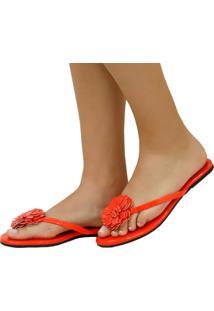 Rasteira Mercedita Shoes Verniz Laranja Com Flor Ultra Conforto - Laranja - Feminino - Dafiti
