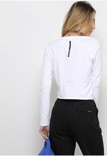 Camiseta Calvin Klein Manga Longa Cropped Feminina - Feminino-Branco
