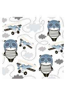 Papel De Parede Panda Aviões Para Quarto De Menino 57X270Cm