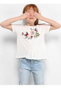 Camiseta Infantil Zeep Floral Feminina - Feminino-Off White