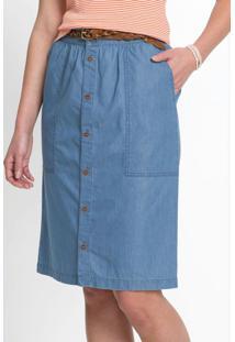 Saia Jeans Com Abotoamento Azul Médio