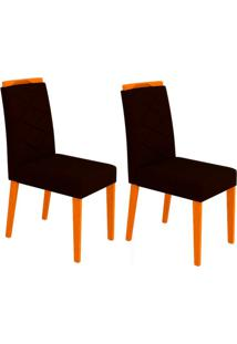 Conjunto Com 2 Cadeiras Caroline I Ipê E Preto