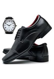Sapato Social Masculino Asgard Com Relógio New Db 807Lbm Preto