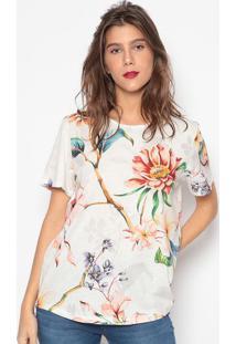 Camiseta Floral- Branca Vermelha- Sommersommer