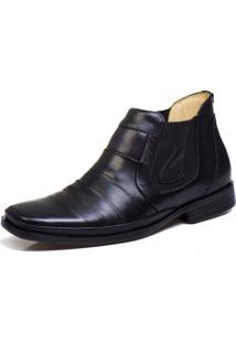Bota Botina Social Bico Fino Conforto Top Franca Shoes Preta