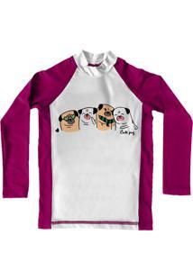 Camiseta De Lycra Comfy Pugs Rosa