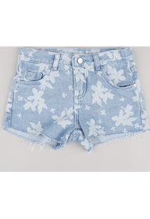 Short Jeans Infantil Estampado Floral Azul Claro