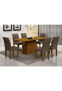 Conjunto De Mesa De Jantar Luna Com 6 Cadeiras Grécia Suede Amassado Imbuia E Chocolate 180 Cm
