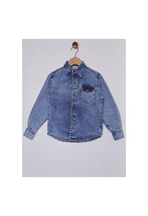 Camisa Jeans Com Bolso Infantil Para Menino - Azul