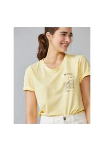 Amaro Feminino T-Shirt Estonada Fond Memory, Amarelo