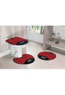 Jogo De Banheiro Guga Tapetes Formato Joaninha 03 Peças Vermelho