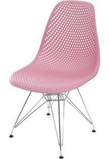 Cadeira Eames Furadinha Cor Rosa Com Base Cromada - 55990 - Sun House