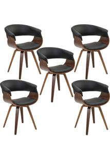 Kit 05 Cadeiras Giratã³Ria Decorativa Para Escritã³Rio Home Office Ohana Pu Preto - Gran Belo - Preto - Dafiti