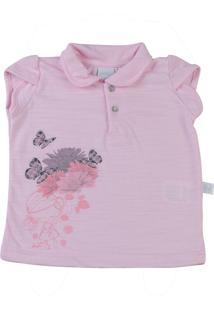 Camiseta Manga Curta Riviera Flame Silk Menina Com Flores Ano Zero Rosa