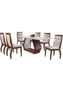Conjunto De Mesa Para Sala De Jantar Com 6 Cadeiras Ibis/Agata-Rufato - Veludo Creme / Off White / Café