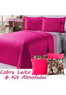 Kit Cobre Leito C/ Almofadas Dual Dog Pink/Rosa Dupla Face Queen 07 Peças