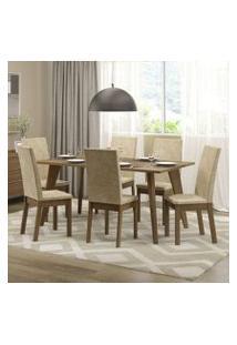 Conjunto Sala De Jantar Madesa Ester Mesa Tampo De Madeira Com 6 Cadeiras Rustic/Imperial