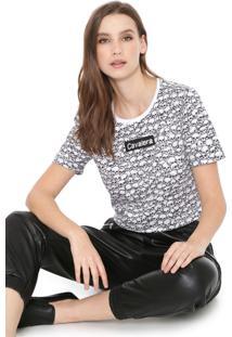 Camiseta Cropped Cavalera Skull Branca
