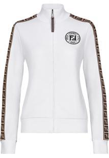 Fendi Side Monogram Panel Logo Print Jacket - Branco