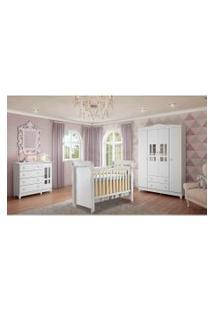 Dormitório Guar. Roupa Ariel 4Pts / Fraldário Ariel E Berço Mirelle Branco