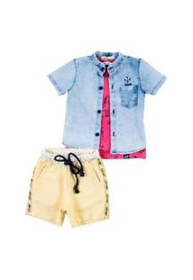 Camisa Jeans Mc C/ Patch Boia Camisa Jeans Mc C/ Patch Boia Jeans 06