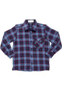 Camisa Manga Longa Mx72 Masculina - Masculino-Azul+Vermelho