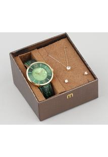 Kit De Relógio Analógico Mondaine Feminino + Brinco + Colar - 53713Lpmvdh2K Verde - Único