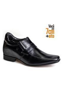 Sapato Social Couro Rafarillo Masculino Conforto Salto 7Cm Preto