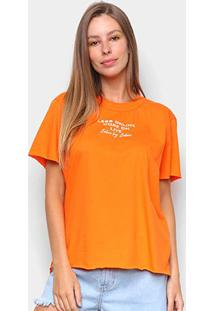 Camiseta Colcci Less Online Feminina - Feminino-Laranja