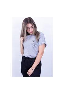 Camiseta Bilhan Corte A Fio Coraçáo Pqn Cinza