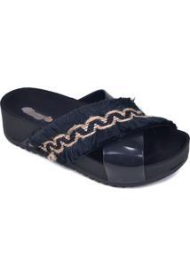 Sandália Flatform Com Aviamento - Azul Marinho - Salcherry