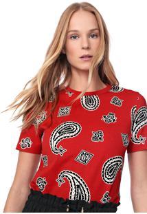 Camiseta Lacoste L!Ve Estampada Vermelha - Vermelho - Feminino - Algodã£O - Dafiti