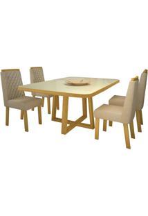 Sala De Jantar Luma 100 Cm Com 4 Cadeiras Noce Veludo Luxo