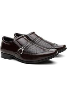 Sapato Social Hshoes Bico Quadrado Conforto Macio Masculino - Masculino-Marrom