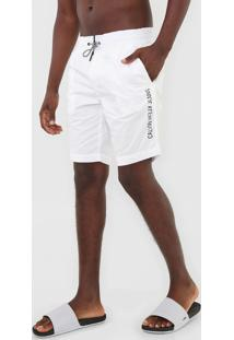 Bermuda Água Calvin Klein Jeans Reta Lettering Branca