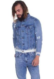 fcb454f34a92c Jaqueta Jeans Levis The Trucker Lavagem Média - Masculino-Azul