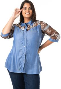 Camisa Jeans Com Tule E Renda Plus Size - Confidencial Extra - Kanui