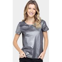 Camiseta Colcci Metalizada Feminina - Feminino-Prata 54f64da0a9d