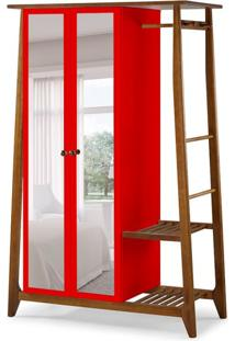 Guarda-Roupa Solteiro Stoka Com Espelho 2 Pt Nogal E Vermelho