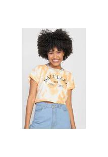 Camiseta Cropped Forever 21 Tie Dye Laranja/Branca